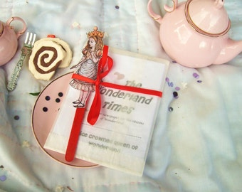 Printable Alice in Wonderland Tea Party Favor, Fantasy Newspaper Zine
