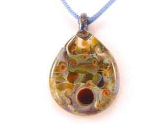 Jubilant Glass Lampwork Reversible Pendant     Flamecrafted Borosilicate On Satin   Free Shipping