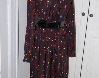 70s Dress, Secretary, Novelty Print, Polka Dots, Colorful Dots, Size M/L