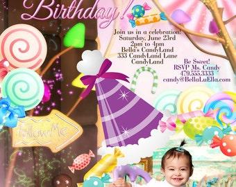 Photo Card, Candy Land Photo Invitation, Birthday Party Invitations, CandyLand Invitations