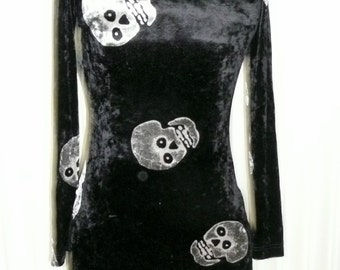 Betsey Johnson Vintage Black Velvet Dress Tunic Top with Silver Skulls stretch knit dress