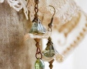 NEW - The Woodland Collection - Eden Earrings - Czech Glass Petals Vintage Lace Remnants