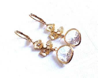 Gold Dangle Earrings, Gold Earrings, dangle Earrings, clear crystal gold earrings, wedding earrings, Bridesmaid earrings, weddings earings