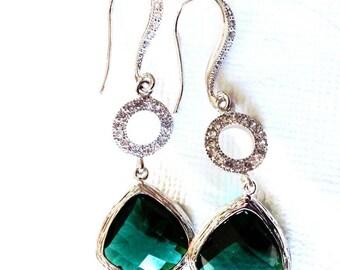 Dangle earrings emerald, green dangle earrings, silver dangle earrings, emerald earrings,bridesmaid gift emerald, dangle earrings bridesmaid