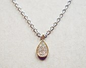 Gold Plated Teardop Necklace - Studded Pendant