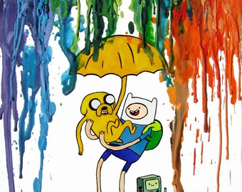 Adventure Time Inspired Art Print  - Mathematical - Finn - Jake - BMO - Crayon Art - Rainbow