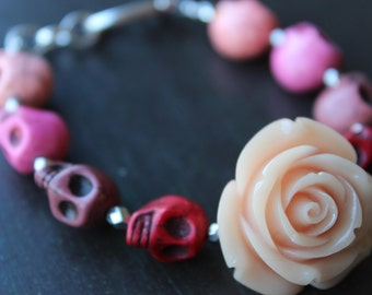 Orange Blush rose and Sugar Skull Bracelet