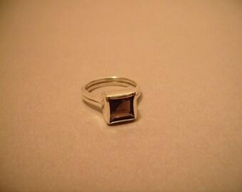 Contemporary Square Smoky Quartz Ring