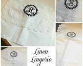 Linen Lingerie Bag  with Monogram for Bride Bridesmaid Mardi Gras Krewe Crochet Edge