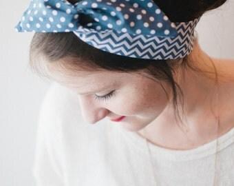 Dolly Bow, Reversible Blue Chevron and Polka Dot Rockabilly Wire Headband Teen Woman Girl
