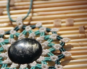 STATEMENT necklace MANDALA with OBSIDIAN stone, micro macrame necklace with silver sheen obsidian