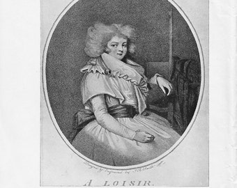 Eighteenth Century lady Vintage Print - A Loisir Engraving by John Raphael Smith