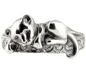 Lion Cub Chewing On The Bracelet - Lion Bracelet - Cute Animal Jewelry - Sterling Silver Bracelet - Oxidized silver cuff