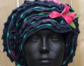 Light & Dark Blue Crochet Hat with Two Beautiful Flowers...