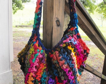 Recycled Silk Luxury Tote, Purse, Easy Breezy Bright and Hippy, Slouchy Hobo, Upcycled Sari Silk Ribbon, Multicolor, Made to Order, OOAK