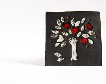 ceramic wall art, ceramic tile, TREE of LIFE. black, red white wall hanging. christmas wedding, engagement. gift for parents.