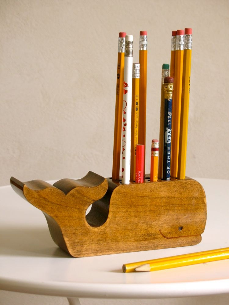 Wooden Whale Pencil Holder Office Desk By Splinkville On
