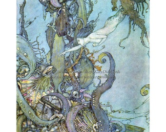 Mermaid Greeting Card | Seeks Witches Potion Under the Sea | Edmund Dulac