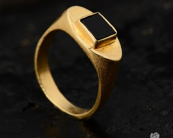 Black and Gold Ring, 18k gold plated,mens ring,unisex,gold and black,square gemstone,flat cut stone,handmade,gift for husband