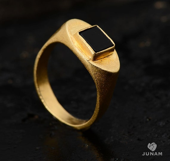 black and gold ring 18k gold platedmens and