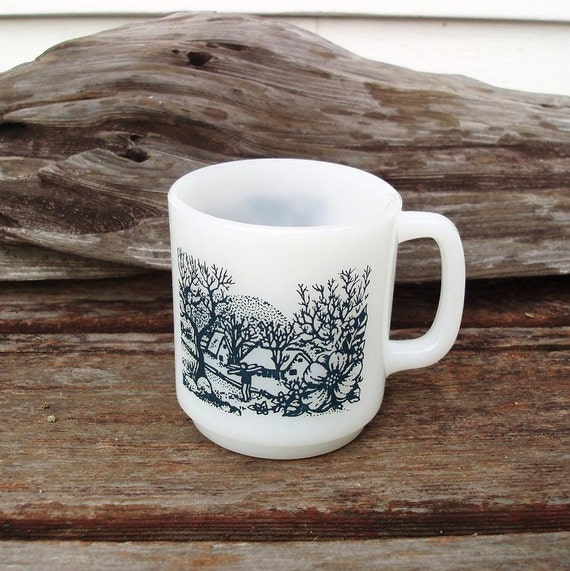 Milk Glass Coffee Mug Black and White Cup Glasbake Mug Stackable Country Scene