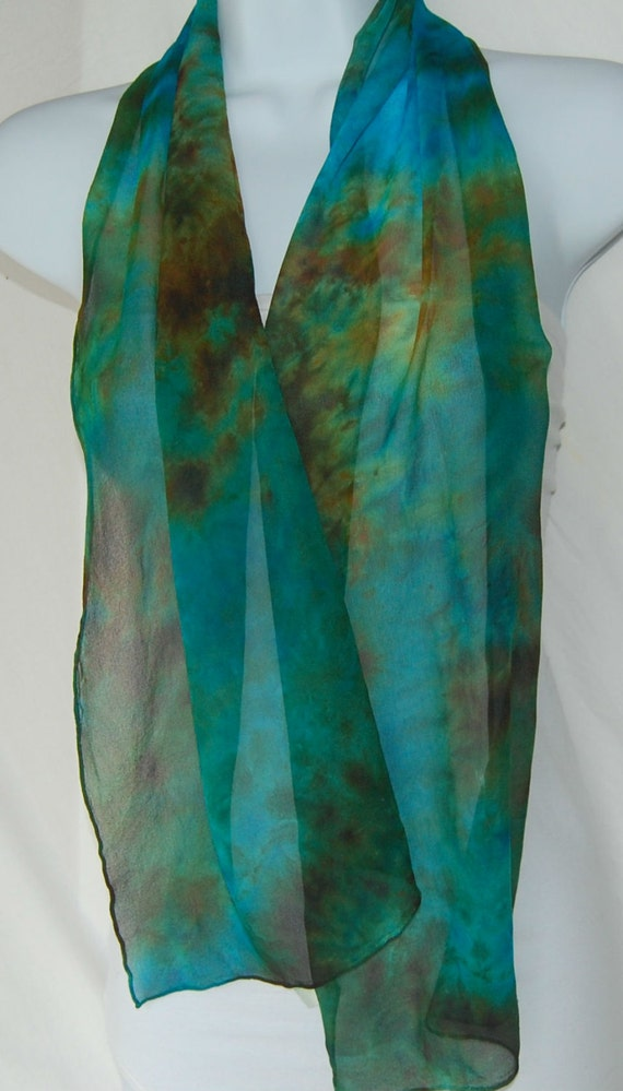 dyed silk chiffon scarf painted scarves