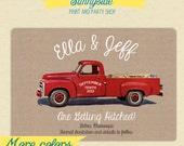 SAVE THE DATE - Getting Hitched - Vintage Pickup Truck on Burlap // Country Save the Date