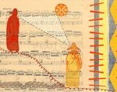 Choose Original Artwork or Print: Seeing Eye to Eye mixed media collage modern art with sheet music