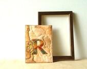 Monogram Card, Letter R, Fiber Art Card, Personalized Card, Initial R, golden handmade - BozenaWojtaszek