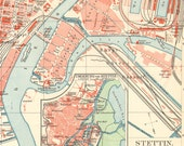 1905 Original Antique City Map of Szczecin or Stettin
