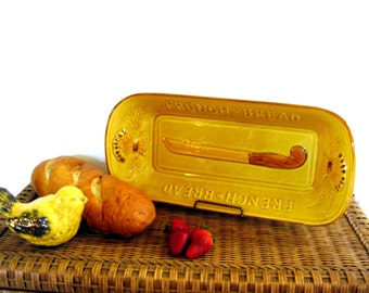 Vintage French Bread Platter Mustard Gold Retro Mid century Kitchen Pottery Long Loaf Serving Dish Los Angeles Potteries
