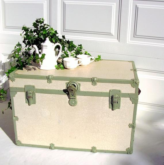 Vintage Steamer Trunk Mint Green White Wood Restored 1930s