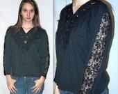 Outlaw .. Vintage 80s 90s southwestern shirt / fringe mesh cut out sleeve / 1980s 1990s southwest navajo ethnic ... S M