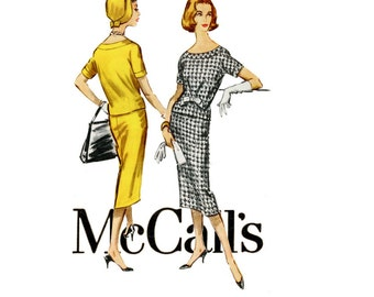 1950s Dress Pattern McCalls 4487 Bust 32 Two Piece Dress Sheath Skirt & Overblouse Bow Trim Office to Evening Womens Vintage Sewing Patterns
