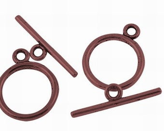 10 Sets Antique Copper Toggle Clasps / Copper Ox Round Toggles ... Lead, Nickel & Cadmium Free Jewelry Findings A12208
