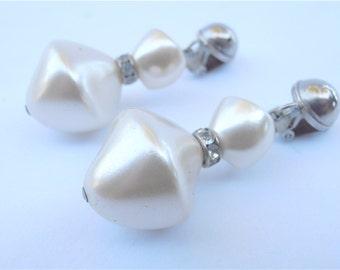 Vintage White Satin Pearl Dangling Earrings Rhinestone Chunky Faux Baroque Pearl Silver Tone Earrings Bride Bridal Wedding Matte Artsy