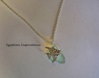 Sea glass necklace. Sea glass jewelry. Beach glass necklace.