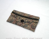 Clutch Bag, Vintage Fabric Paisley Tapestry, Soft Rich Colors, Black Accents