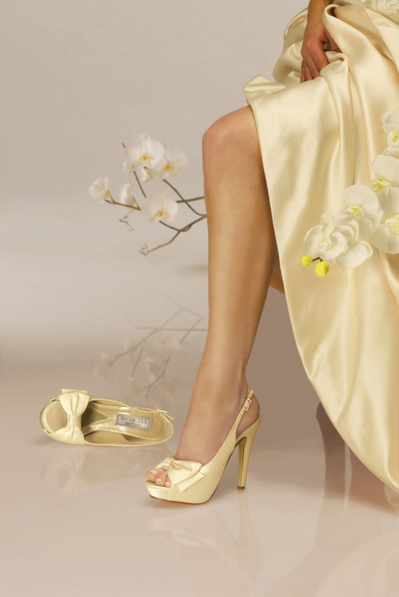 "Yellow Wedding Shoes -- 4"" platform heels"