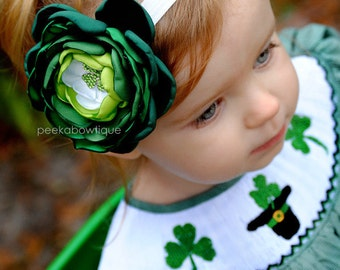 SALE - The Luck of the Irish - Green Ombre - St Patrick's Day Headband - Girls Headband - Green Clover  - Notre Dame - Celtics
