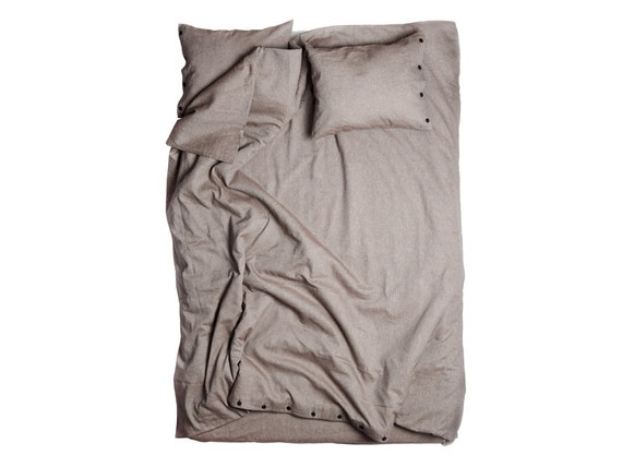 Linen cotton duvet Queen and pillowcases. Brown bed linens. My wooden dream by Lovely Home Idea