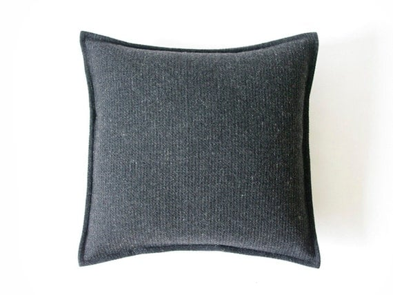 Throw Pillows Charcoal : Decorative pillow cover. Charcoal wool accent by LovelyHomeIdea