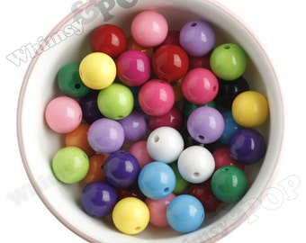 100 - Mixed Colors Gumball Beads, Opaque Acrylic Round Beads, 16mm Beads, Bubblegum Beads, 2mm Hole