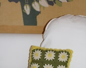 vintage reversible crochet pillow