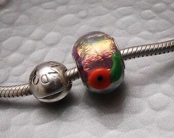 Dichroic Glass Charm Bracelet Bead - Oh Hot Poppy - SRA Handmade Artisan Big Hole