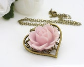 Light pink flower necklace, Pink beaded jewelry, pink resin flower necklace, pale pink necklace, victorian flower necklace, spring necklace