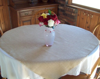 Large Burlap Table Square - Table Overlay - Burlap Tablecloth - Burlap Table Topper - Natural or Off White - More Sizes Available
