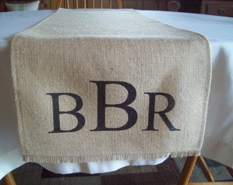 Monogram Table Runner - Hemmed Burlap Table Runner 14 x 84 to 14 x 132 - Other Colors Available - Monogram Burlap Table Runner