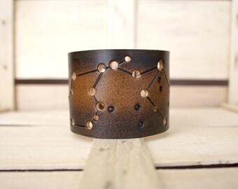 leather cuff Aquarius constellation