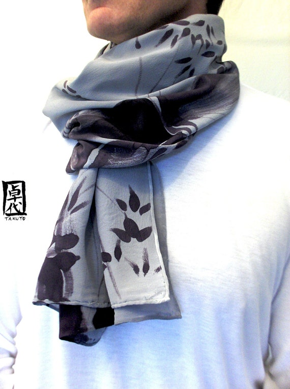Silk Mens Scarf, Ex Large Silk Scarf. Hand Painted Gray Dark Purple Sumi Bamboo Japanese Scarf. 14x72 in.
